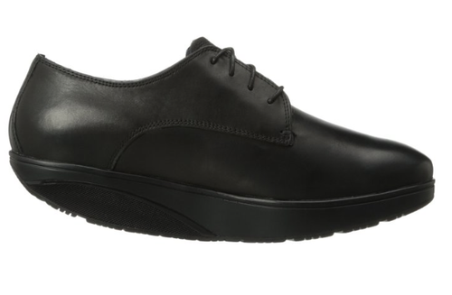Black leather oxford with rocker bottom by MBT.