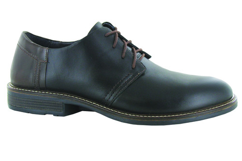 Black Leather Casual Dress Shoe with cork footbed.