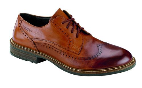 Cognac Men's wingtip lace up dress shoes