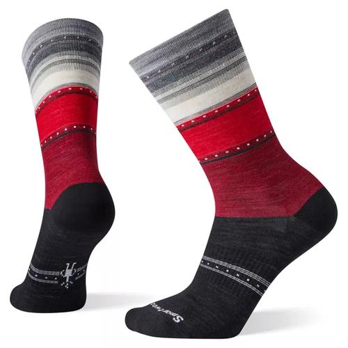 Black/Red stripe crew sock by Smartwool.