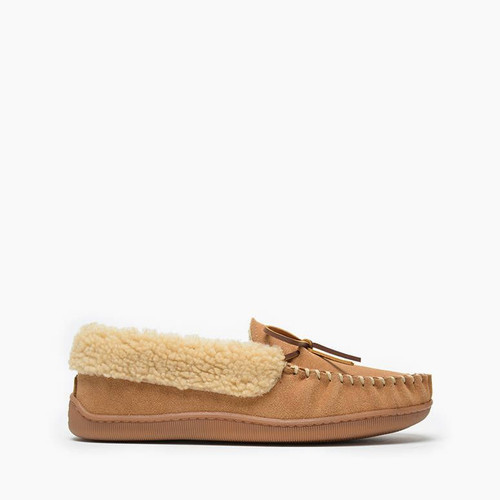 Brown lined slipper with cuff by Minnetonka.