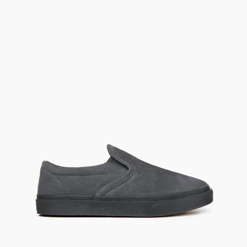 Charcoal suede house slipper for men by Minnetonka.