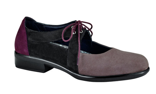 tricolored fall shoe with removable cork footbed from Naot.