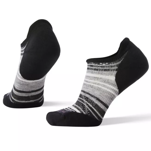Smartwool Women's PhD Run Light Elite Striped Micro - Black/Light Gray