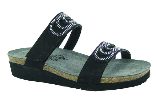 Black slide sandal with rivet accents and cork footbed.