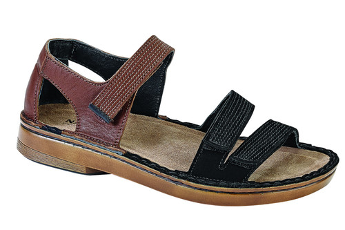 upper and lower strap sandal with removable cork footbed.