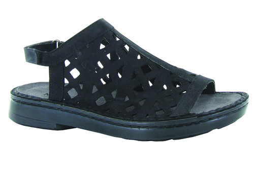Black full coverage sandal with removable cork footbed.