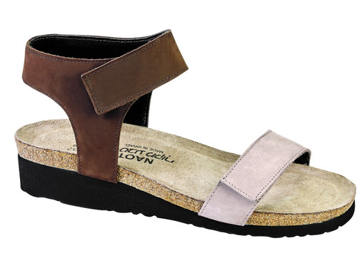 Contrasting color stone and coffee bean sandal with cork footbed.