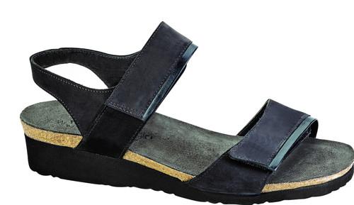 Black contrasting strap sandal with cork footbed.
