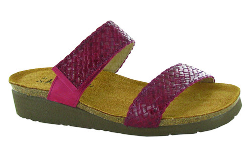 Textured strap sandal with cork footbed from Naot.