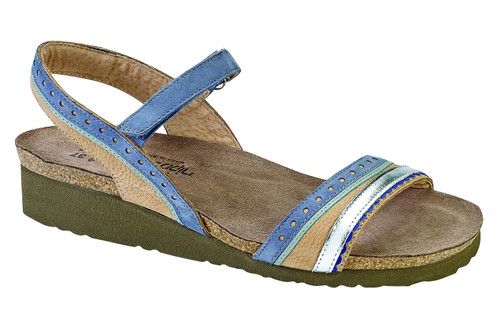colorful back strap sandal with cork footbed from Naot.