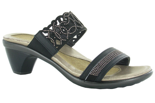 Jet Black Dress sandal with rivet accents and cork footbed by Naot.