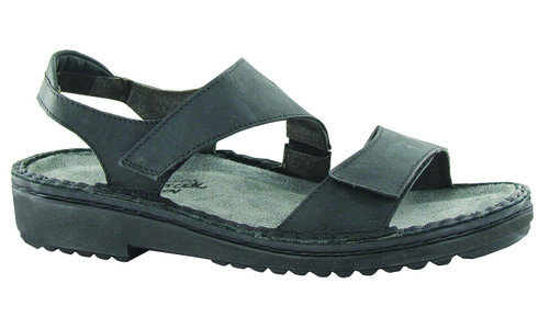 completely adjustable black sandal with padded backstrap and removable cork footbed.