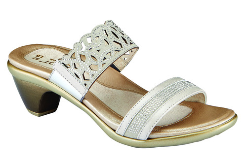 Quartz Dress sandal with rivet accents and cork footbed by Naot.