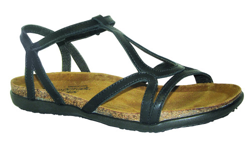 Black gladiator sandal with cork footbed by Naot.