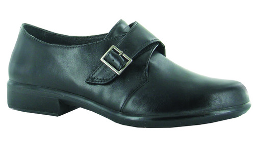 Black Monkstrap shoe with removable cork footbed from Naot.