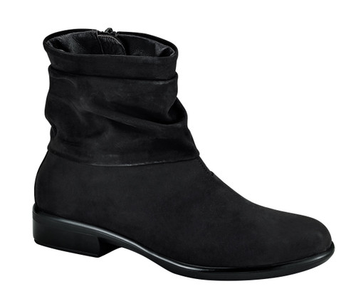 Black side zipper boot with folds  on cuff with removable footbed from Naot.