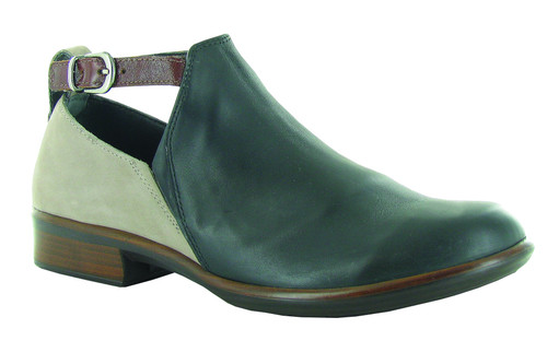 Fall bootie style shoe with ankle strap and removable cork footbed by Naot