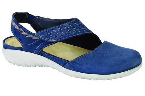 Navy casual shoe with removable cork footbed by Naot.