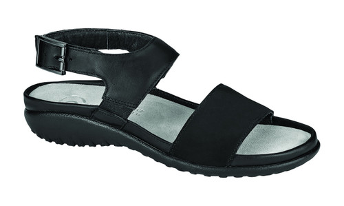 Black back strap sandal with removable cork footbed by Naot.