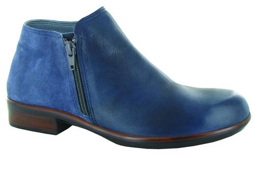 Ink Mid Blue side zip half boot.