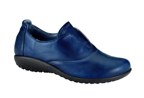 Navy casual slip on with removable cork footbed by Naot.