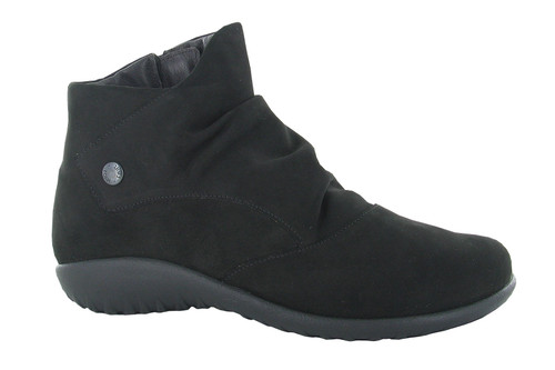 Black velvet ankle boot with removable cork footbed by NAot