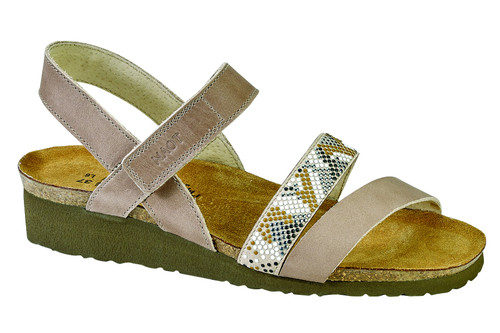 Multi color rivet sandal with cork footbed by Noat