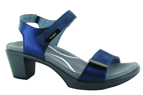Navy Fashion heel sandal with cork footbed by Naot