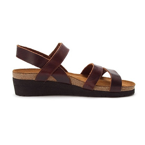 Buffalo three strap sandal with cork footbed by Naot.