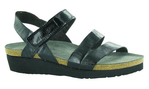 Black luster three strap sandal by Naot.