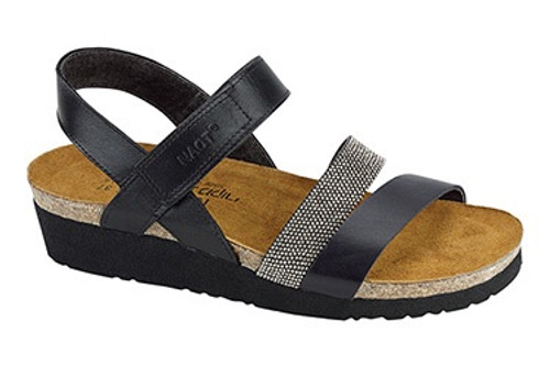 Black matte three strap sandals with cork footbed by Naot.