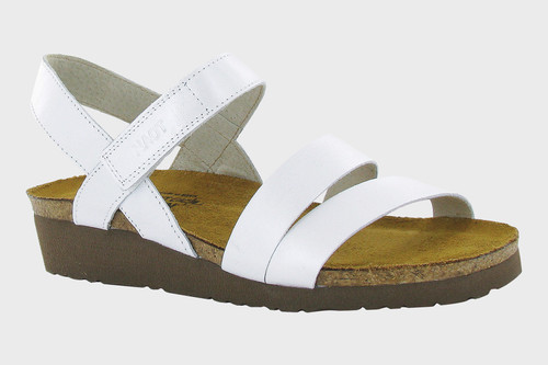 White pearl three strap sandal with cork footbed by Naot.