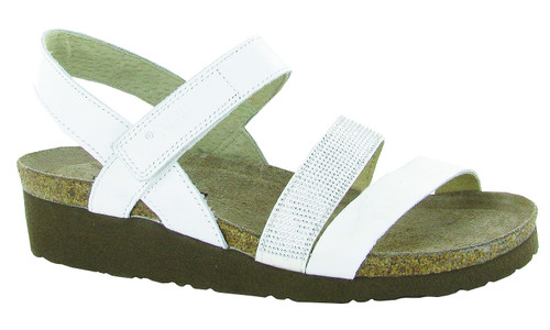 White leather three strap sandals with cork footbed by Naot.