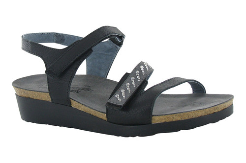 Soft black and dark gray back strap sandal with cork footbed by Naot