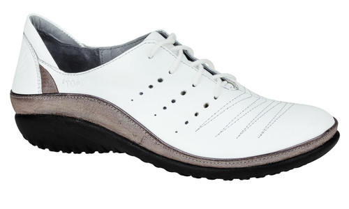 White silver threads casual lace up with removable cork footbed by Naot
