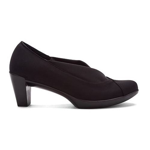 Black slip on business dress heel with removable cork footbed by Naot.