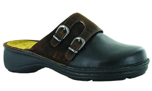 Black raven and seal brown clog with removable footbed by Naot.