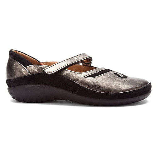 Metal mary jane shoe with swirl design and removable footbed by Naot.