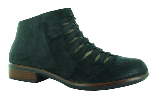 Black ankle boot with side zipper and removable footbed by Naot