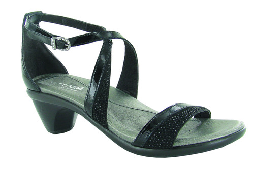 black special occasion heel sandal with cork footbed by Naot.