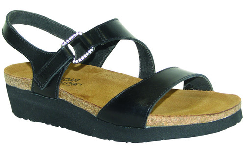 two strap sandal with a rhinestone accented hook & loop strap at the instep and a backstrap