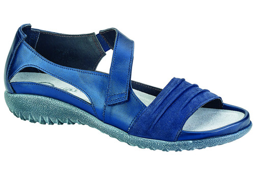 fashionable sandal with a padded front strap & a contrasting rouched design