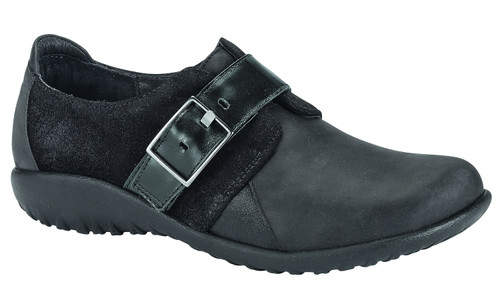 a faux buckle hook & loop closure shoe with removable cork footbed