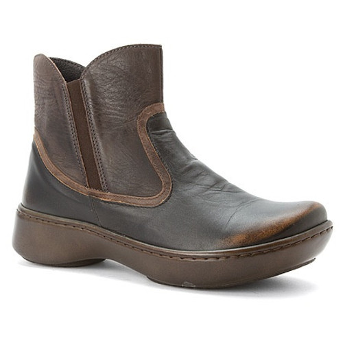 mid calf boot with a contrasting leathers and side zipper
