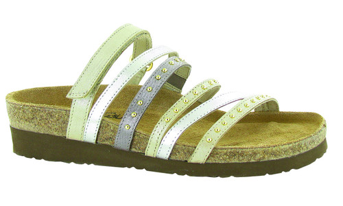 Prescott is a fun, colorful slip on sandal with rivet accents.