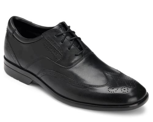Black wingtip dress shoe for men by Rockport.