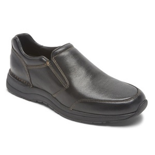 Black slip on casual dress shoe with memory foam insole by Rockport.