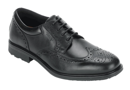 Waterproof black wingtip dress shoe by Rockport.