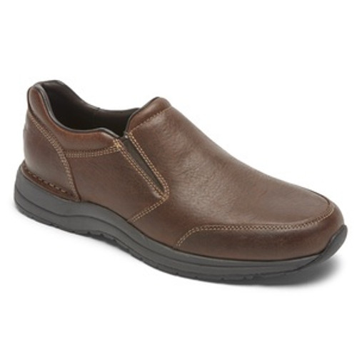 Brown slip on casual dress shoe with memory foam insole by Rockport.